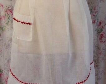 50s Apron - White Voile w Red Ric Rac Trim - Half Apron - Ric Rac Trimmed Pocket - Charming Vintage Kitchen - Excellent Condition