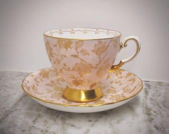 Coalport pink and gold teacup, floral teacup, Coalport teacup, English bone china