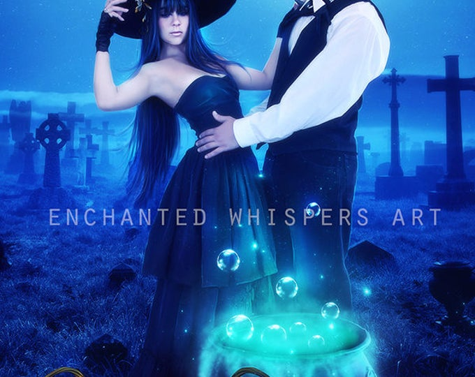 Hslloween dark fantasy Witch couple print