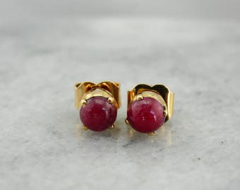 Raspberry Red Ruby Cabochon Stud Earrings in Rich 22K Gold, 8653D2-N