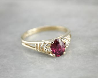 Pretty Ruby Anniversary Ring, Vintage Ruby Ring, Ruby and Diamond Ring CNZCZX-D