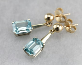 Blue Zircon Earrings, Zircon and Gold, Zircon Drop Earrings, Bridal Jewelry TDM0ZC-P