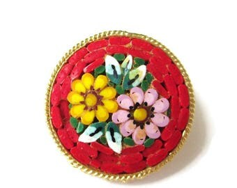 Italian Micro Mosaic Pin/ Round Red Micromosaic Brooch/ Pink Floral Gold Tone  / Yellow Flowers Roped Bezel Pin