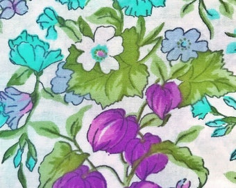 Scandinavian vintage fabric mod floral fabric. Svedish design. Retro fabric, purple and turquoise. Floral print sewing fabric