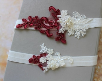 Burgundy Red Bridal Garter , Wedding Garter, Lace garter , Vine Vintage style Garter, Flower Garter ,Ivory  Garter , Stretch Lace Garter Set