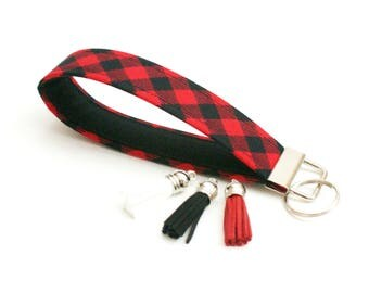 Key Fob - Red and Black Buffalo Plaid Check - 5 Inch Key Ring Wristlet - Loop Keyring - Cute Key Strap - Short Lanyard - New Driver Gift