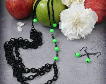 Green Fairy Neon Green and Black Asymmetric Necklace with FREE Matching Earrings Handmade OOAK Jewelry with a Gothic Touch