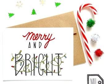 Christmas card - holiday card - seasonal card - merry and bright card - cute holiday card - Merry and bright - Christmas lights illustration