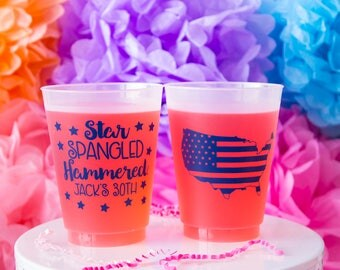 Funny Cups, Personalized Cups, Star Spangled Hammered Cups, Fourth of July Cups, 4th of July Cup, 4th of July Party, 30th Birthday Cup