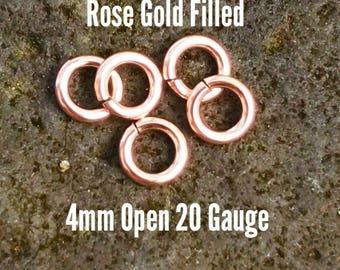 10 ea. 14k Rose Gold Filled 4mm Open Jump Rings 20g ga Gauge