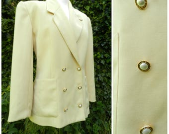 80s WOOL mix cream double breasted fitted jacket ornate faux pearl buttons petite fit U.K. 12 - 14 M