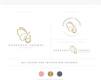 Butterfly initials emblem Branding , Photography Logo Watermark, Handwritten initials, Gold Initials Signature / Rose Gold Logo Design Stamp