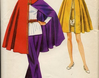 60s-70s Reversible Cape & Pants, Skirt pattern, Simplicity 9226, Junior Teen Size 15/16, Bust 35 inches