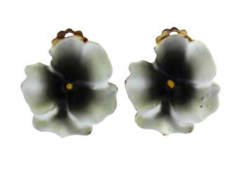 White Pansy Earrings, White Flower Earrings, Enamel Pansy Earrings, Enamel Flower Earrings