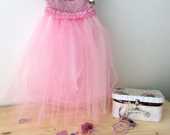 Fairy Princess Dress, Fae, Faery, Tutu dress, Hand crocheted, Birthday dress,