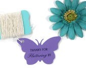 Fluttering By Tags 20 pc - Purple Butterfly Favor Tags - Butterfly Party Tags - Thank You Bridal Shower - Plum Butterfly Shaped Tags