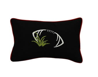 Touchdown Decorative Lumbar Football Throw Pillow Cover w/Insert in your Favorite Team's Colors (Black, Burgundy & White)