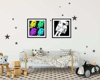 Set of 2 Astronaut Prints Black and White Astronaut Art Pop art astronaut Outer Space Art Astronaut decor Children's Astronaut bedroom decor