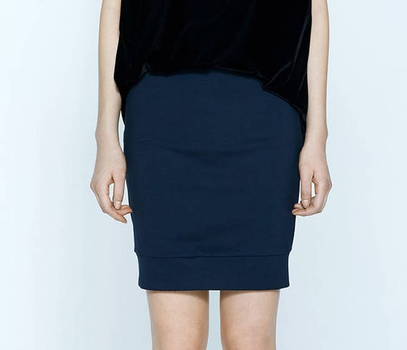 RED LION - body-conscious skirt, stretch skirt, mini-skirt for women - navy blue