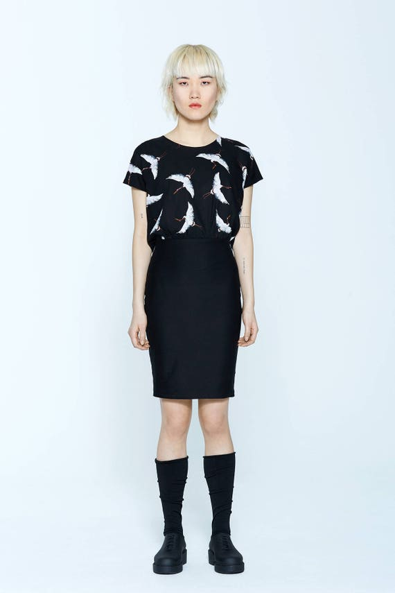 PANACHÉ - tailored dress, working girl dress for womens - black with herons print