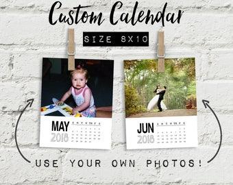 Custom calendar 2018, 8x10 calendar, personalized calendar, photo calendar quote calendar, clipboard calendar, wall calendar office calendar