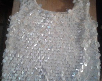Vintage 60's Medium Hand Knit Sleeveless (Shell) Top with Bangles