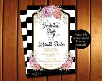 Stripes Graduation Party Invitations -  Gold Glitter Grad Announcement - Black White Graduation Invite
