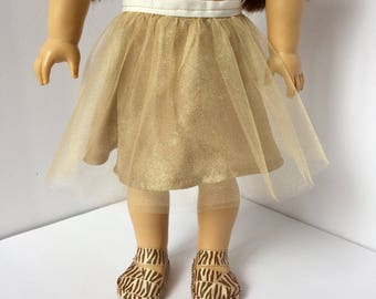 Gold tutu skirt with matching zebra sandals. Made to fit American girl dolls. Handmade doll shoes.