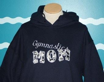 Gymnastics Mom Hooded Sweatshirt - Custom Embroidery - Mother's Day Gift - For Mom - Hoody - Hoodie - Athletic Wear - Pullover Sweatshirt