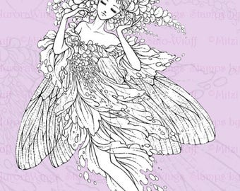PNG Digital Stamp - Wisteria Fairy - digistamp - Wisteria Fae w/ Damselfly Wings in Pointe - Ballet Fantasy Line Art for Cards & Crafts