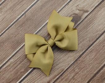 Kaki Hair Bows, Solid Kaki Bows, Tan Hair Bows, Tan Bows, Kaki Bow Headband, Kaki Headband, Uniform Hair Bows, Uniform Bows, Kaki Bow Clips