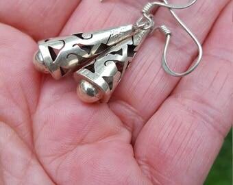dangle earrings 1970's MEXICO laser cut sterling earrings