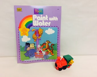 Vintage Paint With Water Book, Winnie the Pooh Book, 1995 Walt Disney, Golden Books, Winnie the Pooh McDonalds Toy, Red Train Toy, Kids Art