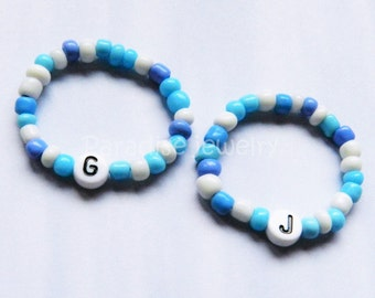 Newborn Baby Personalized Bracelet Set Identical Twin Boys Blue Baby ID Baby Jewelry Retro Style Hospital ID Bead Bracelets Twin Gift