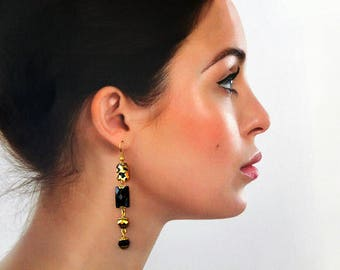 Long Black Gold Earrings with Leopard Print