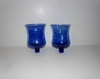 Vintage Blue Blown Glass Sconce Votive Holder set of 2 / Floral Supply Sconce Supply V2005b