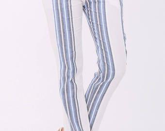 Striped White Cotton Pants.