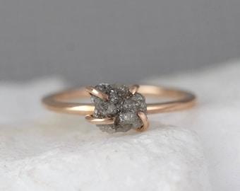 Raw Uncut Rough Diamond Solitaire Engagement Ring - 14K Rose Gold - Rough Diamond Gemstone Ring - April Birthstone - Anniversary Ring