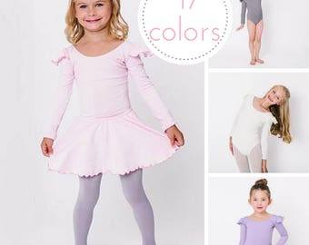 Long Sleeve Ruffle Flutter Leotard - 17 colors!