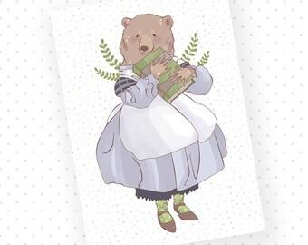 A6 Magical Librarian Bear Lady Aurora Print