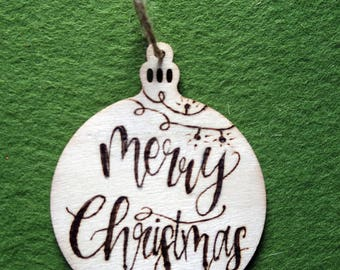 Handlettered Woodburned Ornament
