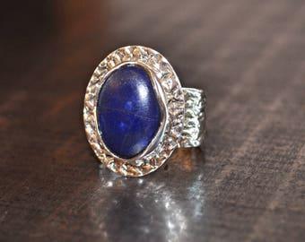 Sterling Silver Handmade Sterling Silver Ring Lapis Lazuli 7.5