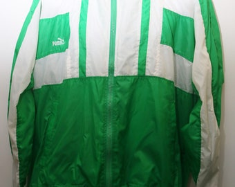 "Rare 90's Vintage ""PUMA"" Green Windbreaker Jacket  Sz: MEDIUM (Men's Exclusive)"