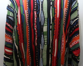 """Rare 90's Vintage """"COTTON TRADERS"""" Coogi Style Abstract Patterned Multicolor Sweater Sz: XXLARGE (Men's Exclusive)"""