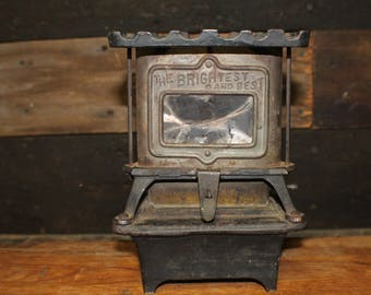 Antique Kerosene Oil Sad Iron Heater The Brightest and Best, Cast Iron Tabletop Heater