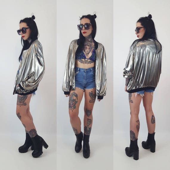 80's Metallic Silver Zip Up Jacket Medium - Shiny Silver Jacket With Black Trim - Slouchy Unisex Outerwear Vintage Retro Space Glam Metallic