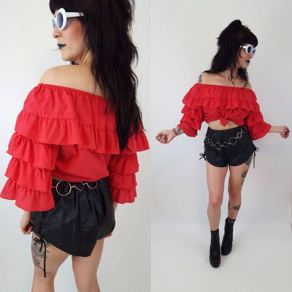 Vintage Womens Bright Red Ruffly Sleeve Shirt - Medium Large Vtg Fun Festival Long Sleeve Shirt - Unique Fun Ruffle Halloween Costume Top