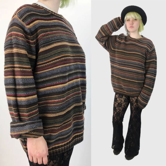 90's Mens Striped Textured Knit Boyfriend Sweater L/XL Plus Size Pullover - Earth Tone Vintage Jumper Horizontal Striped Grandpa Pullover