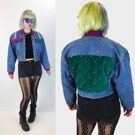 80's Funky Cropped Denim Jacket Medium - Womens VTG Sequin Panel Backpatch Quilted Statement Coat - Blue Green Purple Fly Girl Cropped Denim