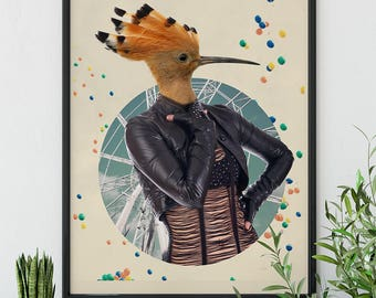 Woodpecker Collage - Poster Print - Fine Art Collage Print - Vintage Retro